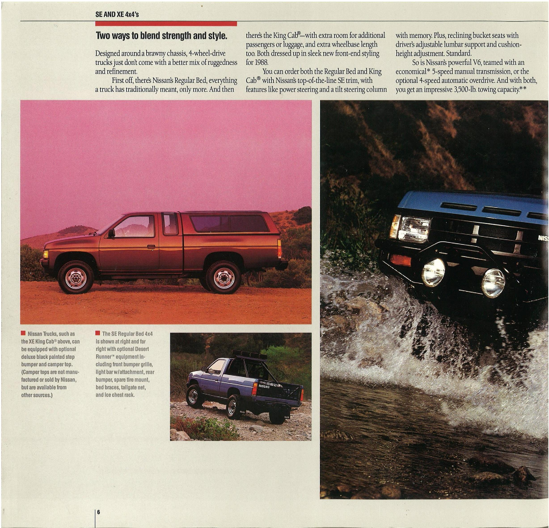 1988 Nissan Hardbody Truck D21 Dealer Brochure - US Market