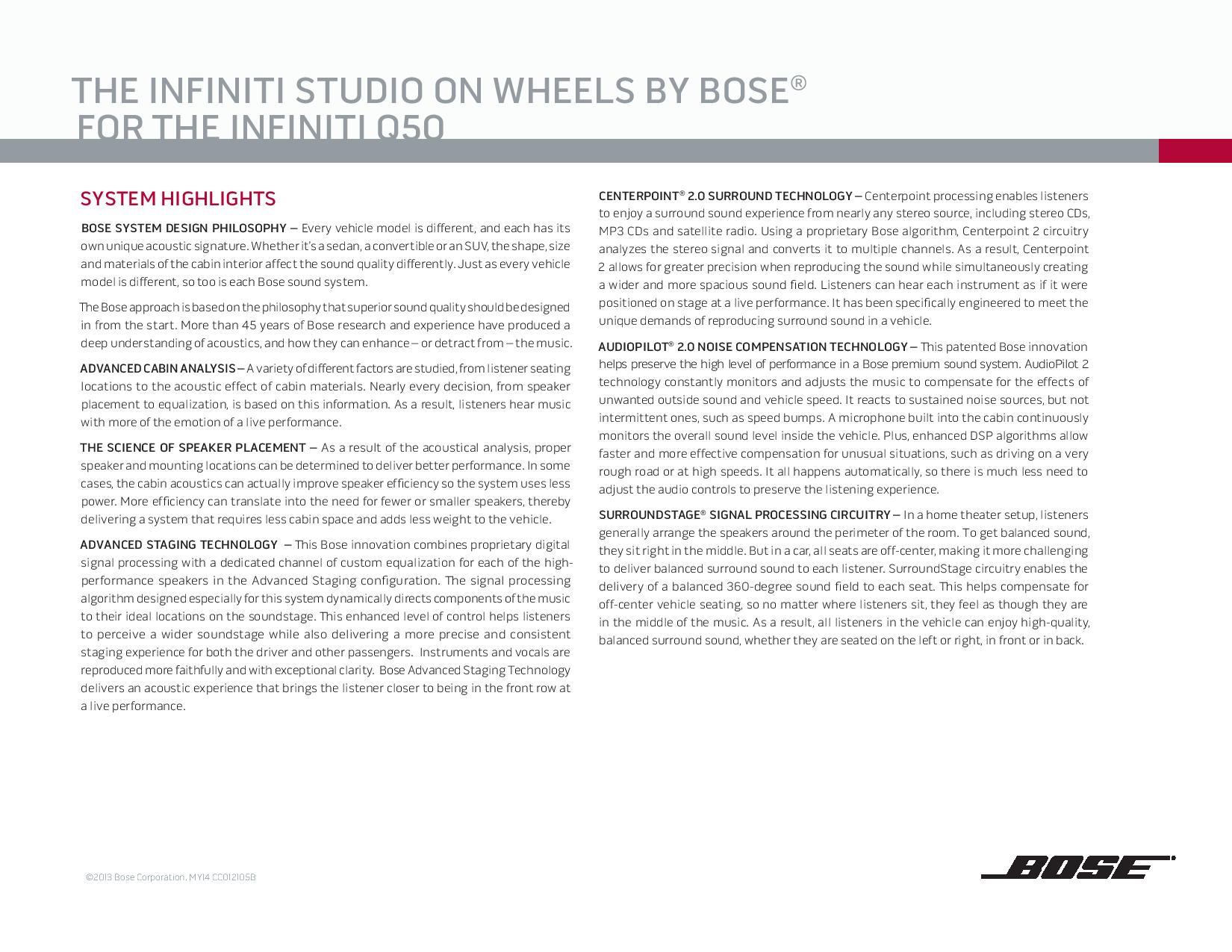 2013 infiniti g37 bose sound system specs