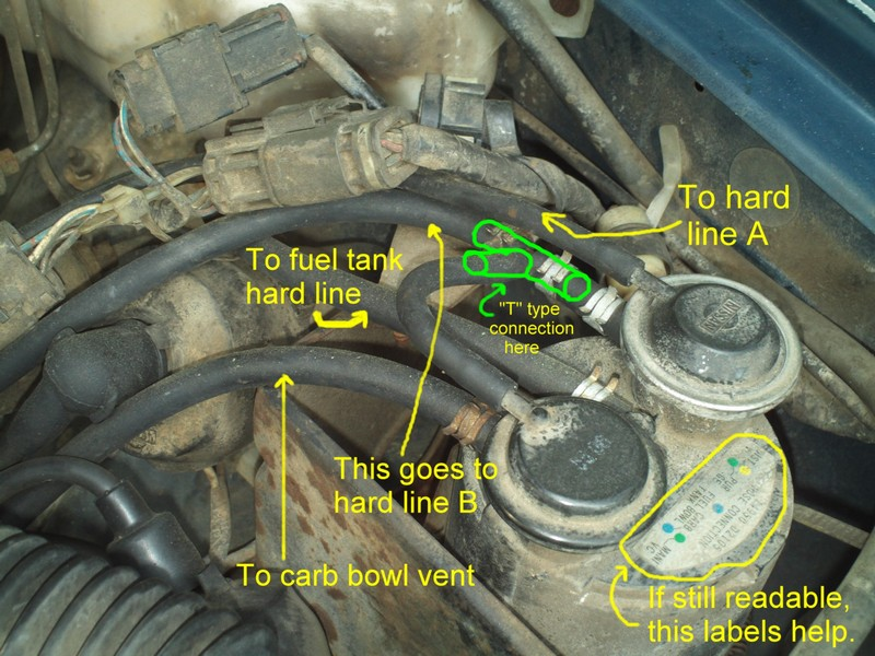 720_pickup_vacuum_line_routing_036 nissan 720 pickup truck vacuum hose routing and repair guide part 3