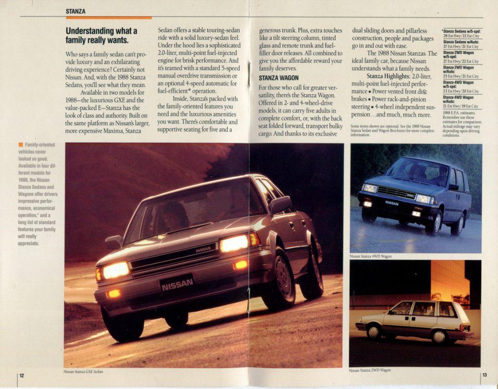1988 Nissan Full Lineup Dealership Brochure Nicoclub
